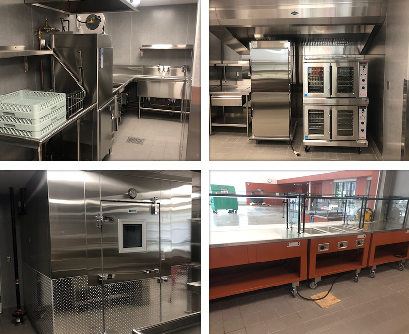 Fullner Food Service displaying a washroom, walk-in freezer, baking station and buffet display from their contracted jobs.